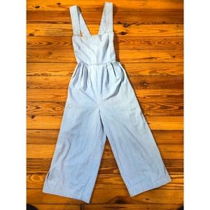 Free People Blue Cotton Jumpsuit (Pockets!)